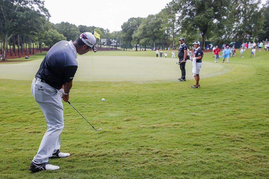 Hideki Matsuyama of Japan on the second green during a practice round for the 99th PGA Championship.