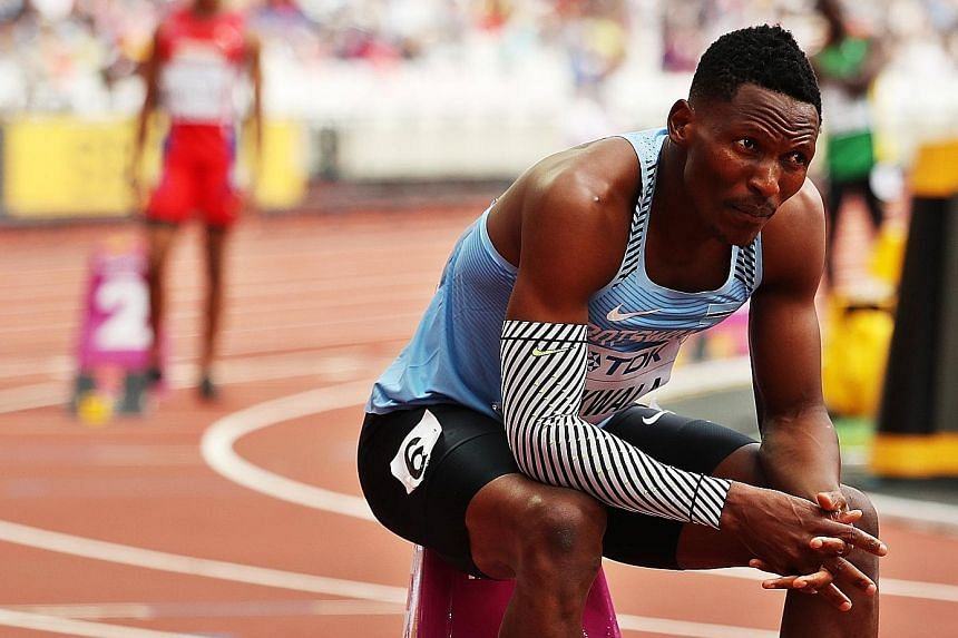 Isaac Makwala of Botswana before the start of his 400m heat at the IAAF World Championships in London last Saturday. He was given medical dispensation to withdraw from the 200m heats on Monday after he vomited in the call room.