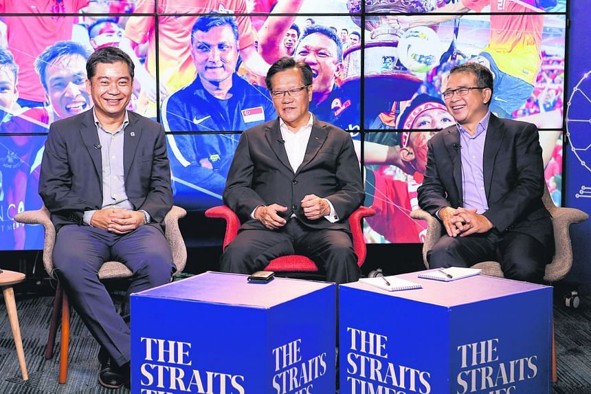 From left: FAS deputy president Bernard Tan, president Lim Kia Tong and vice-president Edwin Tong during the round-table session to outline their plans to revive Singapore football.