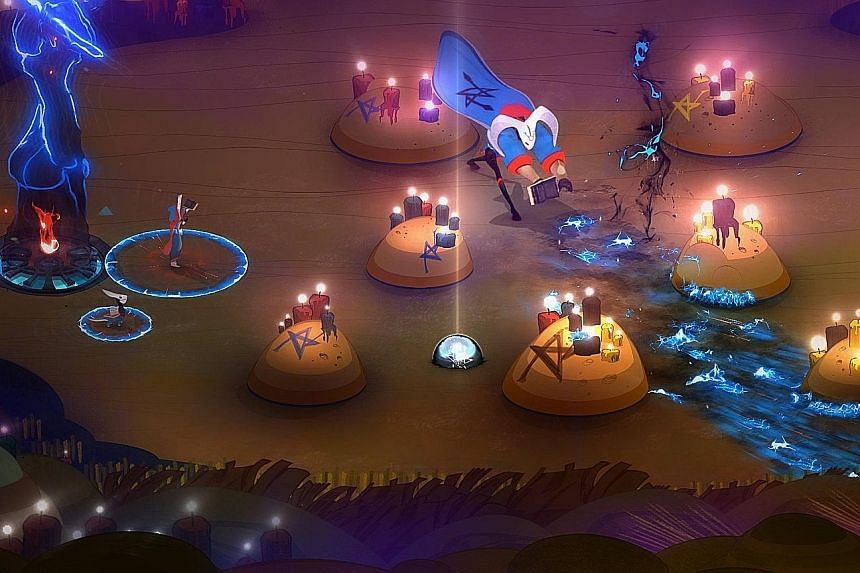 The goal in Pyre is to extinguish your opponent's pyre before yours is doused.