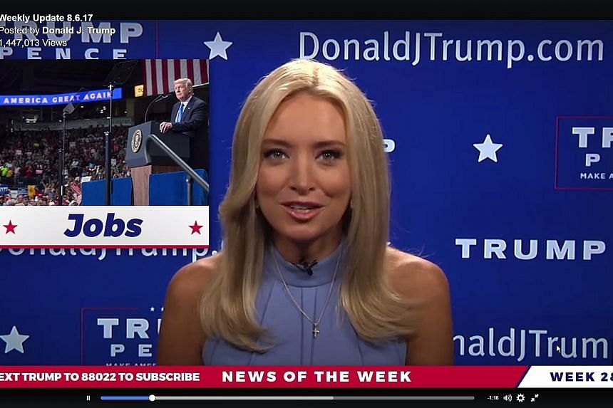 The bulletin was presented by Ms Kayleigh McEnany, who ran through a series of positive stories about President Donald Trump, while seated in front of a blue Trump-Pence themed wall.
