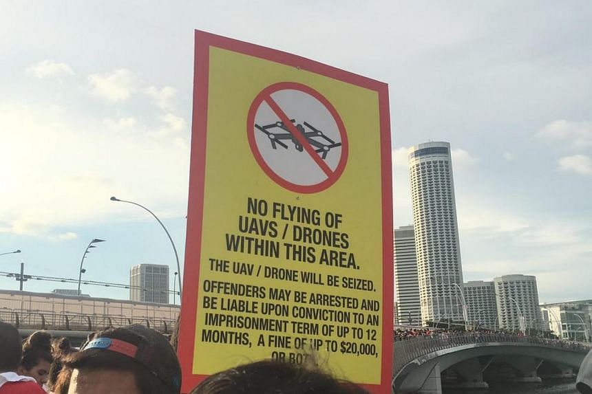 A sign warning people not to fly drones or UAVs near the National Day Parade, on Aug 9, 2017.