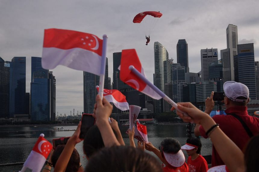 A Red Lion landing at the Marina Bay Floating Platform during the National Day Parade on Aug 9, 2017.