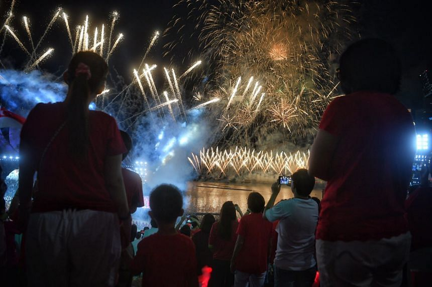 Fireworks during the finale of the National Day Parade at the Marina Bay floating platform on Aug 9, 2017.
