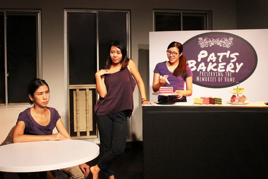 From far left: Andrea Lim, Shannen Tan and Laura Kee in A Piece Of Cake, the last play in The Wright Stuff, a platform for new playwrights presented by Toy Factory Productions.