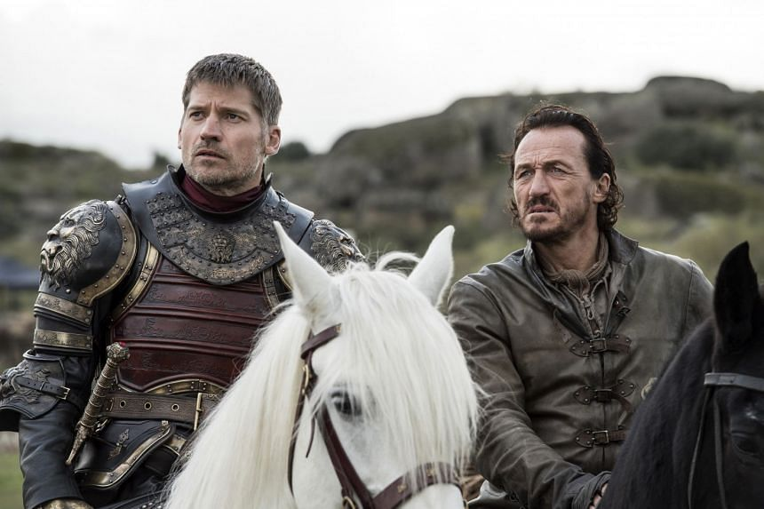Nikolaj Coster-Waldau as Jaime Lannister and Jerome Flynn as Bronn in HBO's Game Of Thrones.