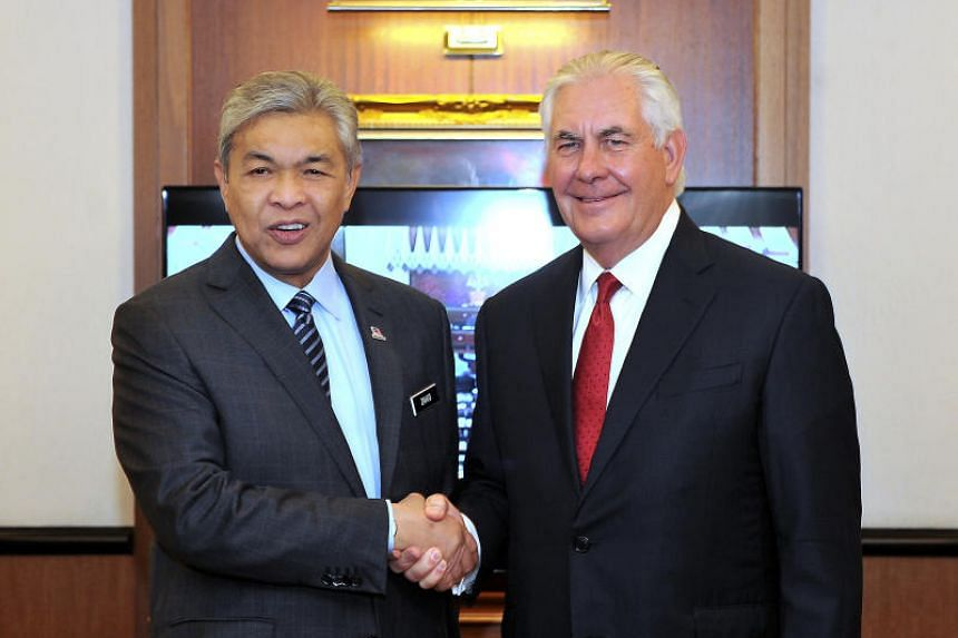 US Secretary of State Rex Tillerson met  Malaysia's Deputy Prime Minister Datuk Seri Dr Ahmad Zahid Hamidi in Kuala Lumpur for talks as he wrapped up his two-day inaugural visit to Malaysia.