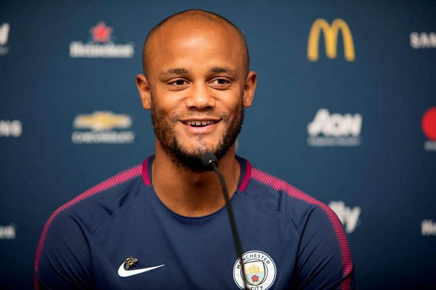 Manchester City's Captain Vincent Kompany speaks during the Manchester City news conference in Houston, on July 19, 2017.