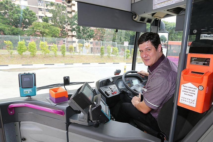 SBS Transit bus captain Daniel Jacobus Ellis, who gained Singaporean citizenship two years ago, said he turned to the bus company for a stable job. He is believed to be the only bus captain here from South Africa.
