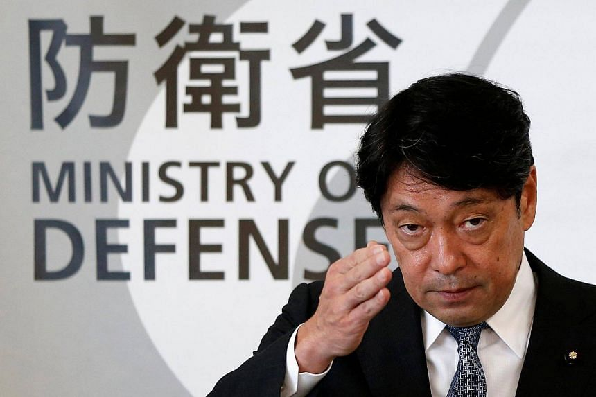 Japan's Defence Minister Itsunori Onodera attends a news conference at Defence Ministry in Tokyo.