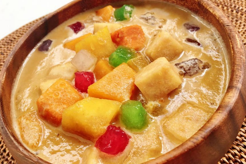 Pumpkin, sweet potatoes, yam and tapioca flour cubes make up this colourful and tasty dessert.