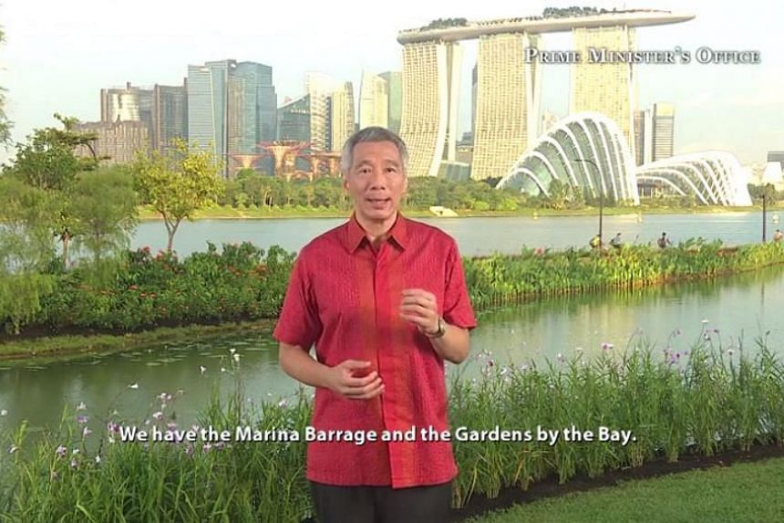 A screenshot of PM Lee Hsien Loong delivering his National Day message.