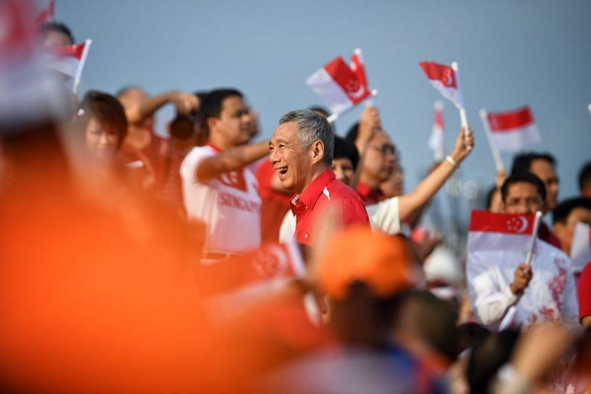 Prime Minister Lee Hsien Loong arriving at the NDP on Aug 9, 2017, held at the Marina Bay Floating Platform.