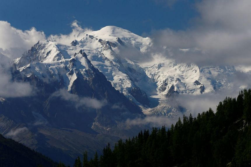 The Mont-Blanc mountain and summit are seen from Emosson, Switzerland Aug 9, 2017.