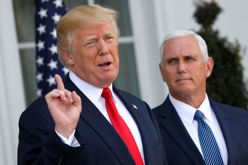Trump (left) speaks to reporters with Vice-President Mike Pence at his side.