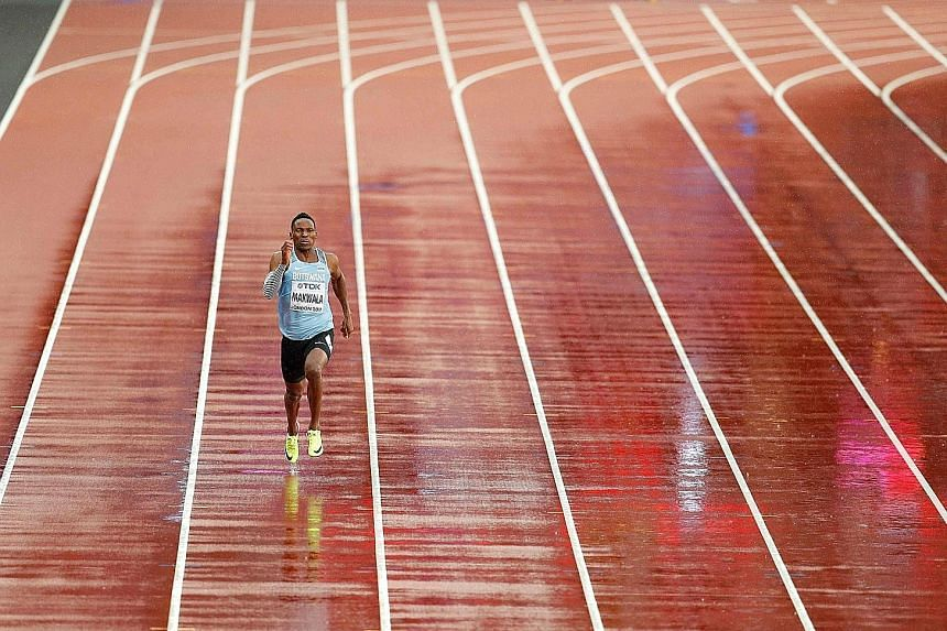 Botswana's Isaac Makwala running alone in a 200m heat on Wednesday. The time trial was arranged for him following an appeal by Botswana's athletics federation. He had been barred from running in Monday's 200m heat and Tuesday's 400m final after falli