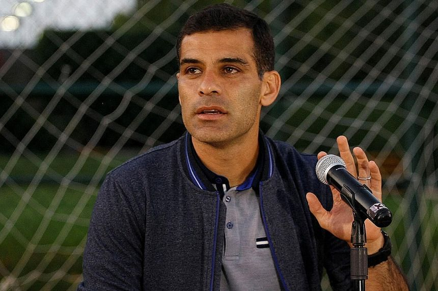 Mexico centre-back Rafael Marquez, 38, at a press conference in Guadalajara, categorically denying the drug cartel links.