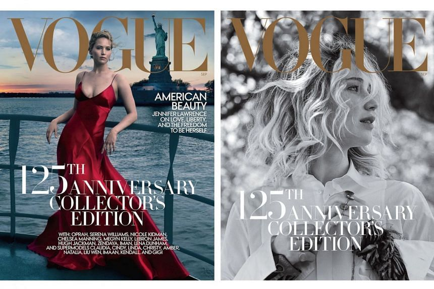 Jennifer Lawrence appears in four different cover shots for Vogue.