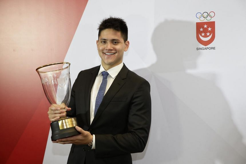 Sportsman of the Year Joseph Schooling at the Singapore Sports Awards on Aug 8, 2017.