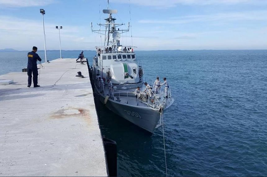 The first Malaysian Navy ship berthed on Aug 10. 2017, at the country's new maritime base on the Middle Rocks, near Pedra Branca.