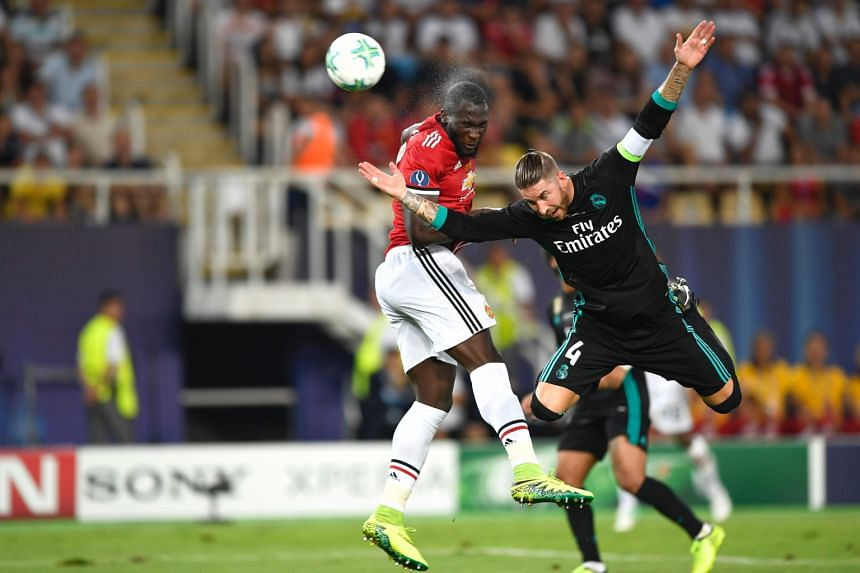 Manchester United striker Romelu Lukaku (far left) vies with Real Madrid defender Sergio Ramos for the ball during the Uefa Super Cup match in Skopje. United manager Jose Mourinho said the chance to play the European champions in a competitive match