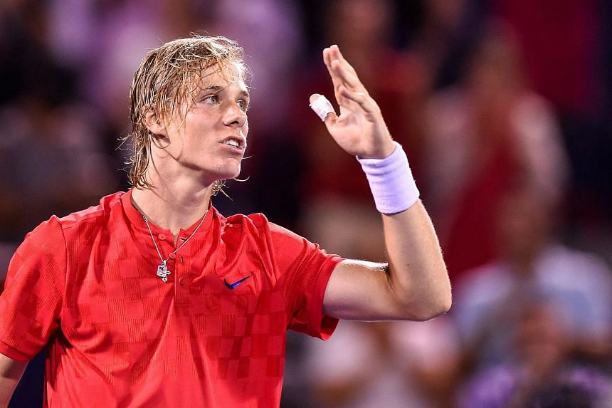Denis Shapovalov thanks the fans for his victory over Rafael Nadal  on Aug 10, 2017.