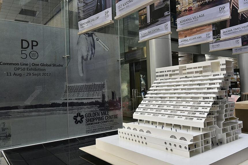 A scale model of Golden Mile Complex is among the exhibits.