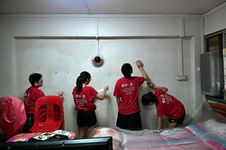 The Salvation Army's Tanglin Mega Family Store. The group accepts items ranging from clothes to furniture and sells them at its Family Thrift Stores. Student volunteers cleaning the walls of a senior's flat. Those who enjoy interacting with people ca