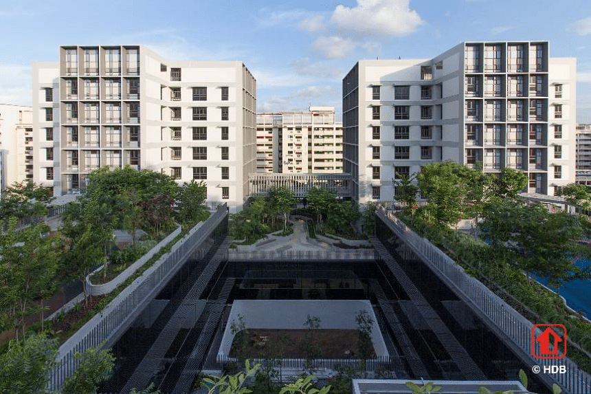 The two residential blocks for the elderly are connected to communal facilities such as lush green spaces and fitness corners.