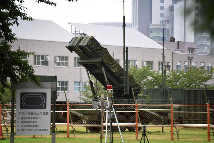 A Japanese Self-Defence Force Patriot Advanced Capability-3 (PAC-3) missile interceptor is deployed outside the Defence Ministry headquarters in Tokyo, on Aug 11, 2017.