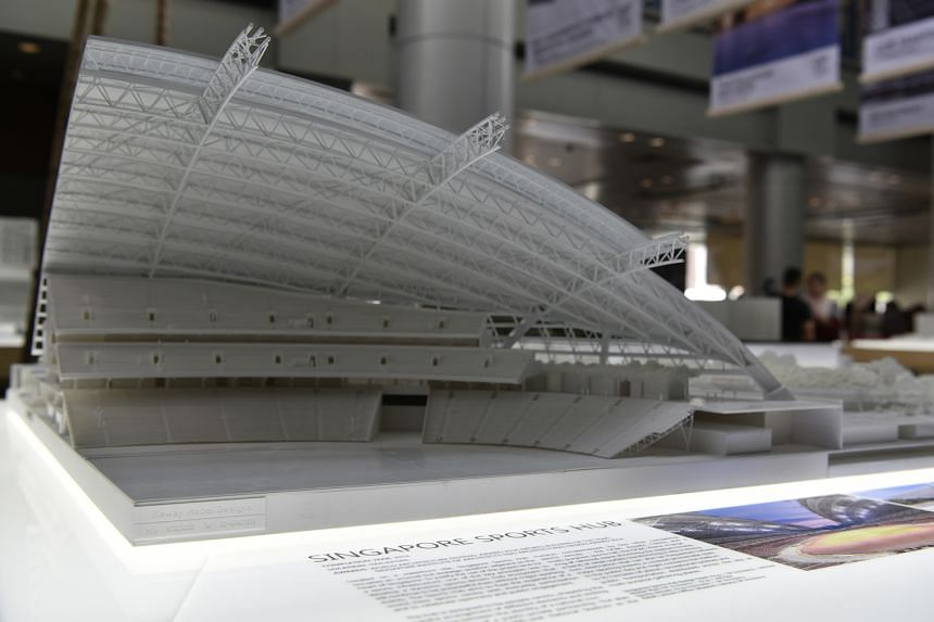 A section of a scale model of the Singapore Sports Hub at the exhibition, A Common Line | One Global Studio.