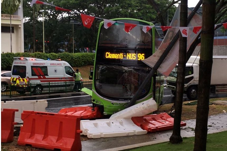 The bus mounted the kerb, crashing into a lamp post and causing a traffic jam.