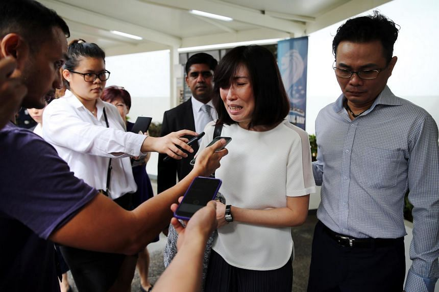 """Tay Puay Leng (left) told reporters that she wished she could apologise in person to Mr Ng Ai Hua, while her partner Chow Chuin Yee said he had felt """"disgusted"""" with himself after watching the video."""