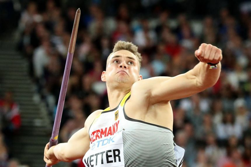 Johannes Vetter of Germany competes in the men's javelin final.
