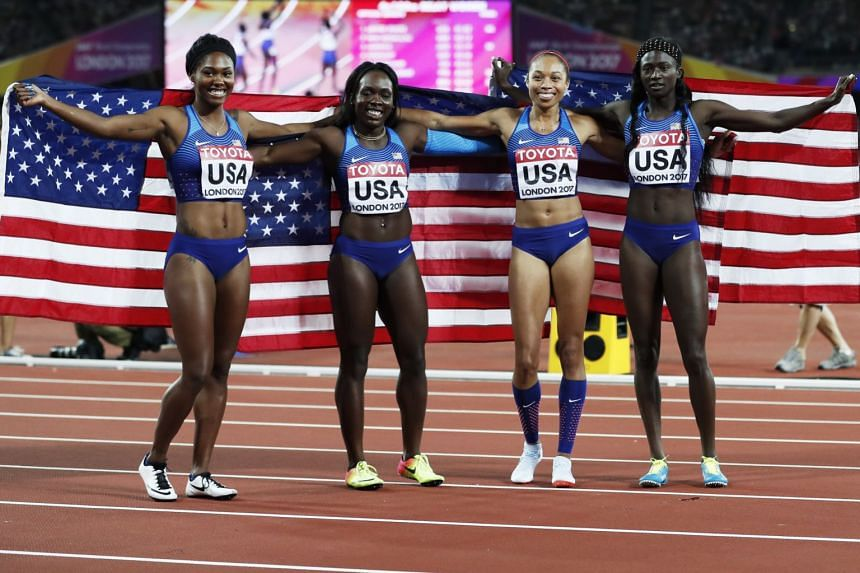 (From right) Tori Bowie, Allyson Felix, Morolake Akinosun and Aaliyah Brown of the US celebrate.