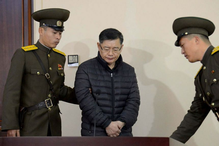 Hyeon Soo Lim at his trial in North Korea in an undated photo released in 2015.