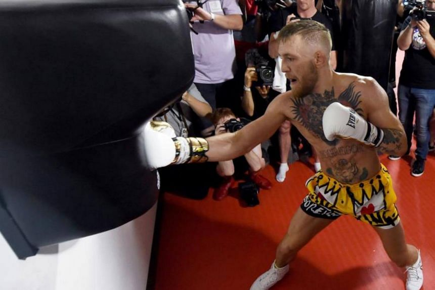 UFC lightweight champion Conor McGregor hits an uppercut bag during a media workout at the UFC Performance Institute on Aug 11, 2017 in Las Vegas, Nevada.