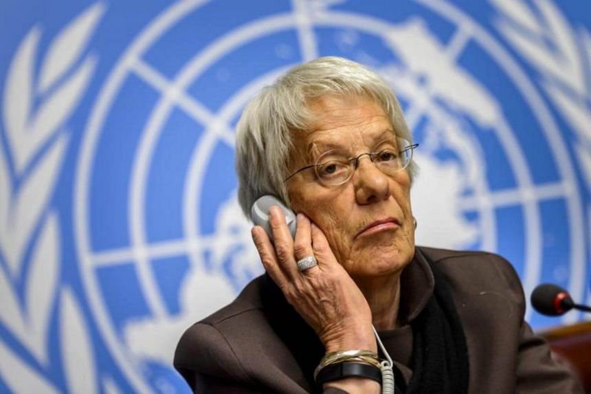 Member of the United Nations (UN) Commission of Inquiry on Syria, Carla del Ponte attending a press conference in Geneva on March 17, 2015.