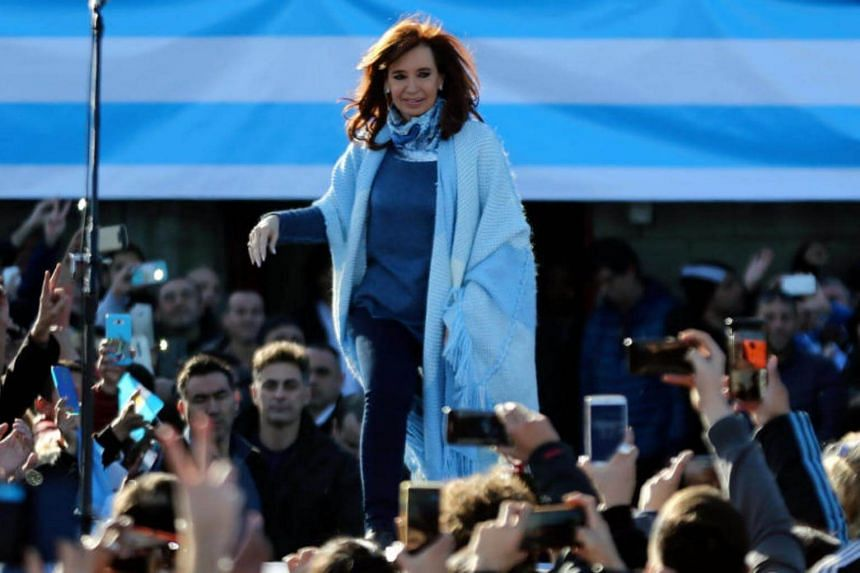 Former Argentine president Cristina Fernandez arriving at a rally in Buenos Aires on June 20, 2017.