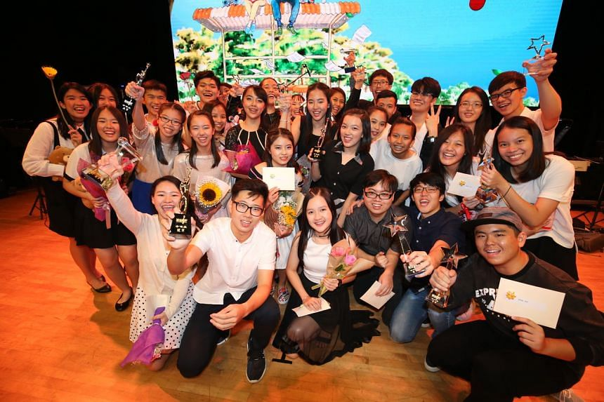 The participants of the third edition of the National Schools Xinyao Singing and Songwriting Competition. PHOTO: LIANHE ZAOBAO