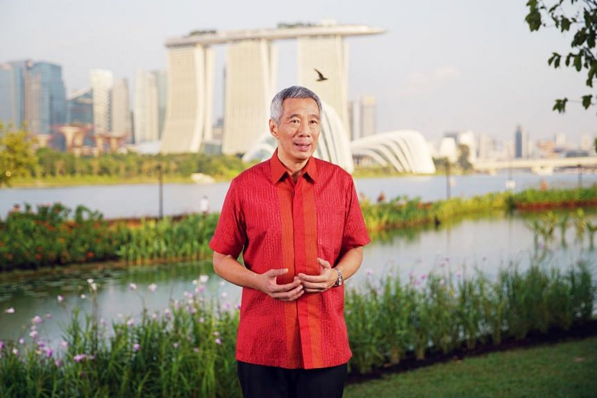 Prime Minister Lee Hsien Loong delivering his National Day message on Aug 8, 2017.
