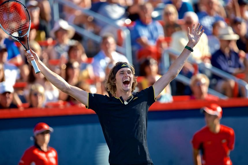 Alexander Zverev celebrates his victory over Roger Federerduring the ATP Rogers cup men's final, on Aug 13, 2017.