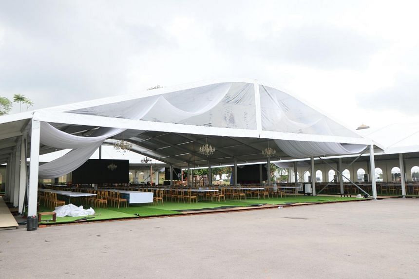 White canopies erected outside the Grand Palace where guests will be able to watch the wedding ceremony of the Johor Princess from giant screens.