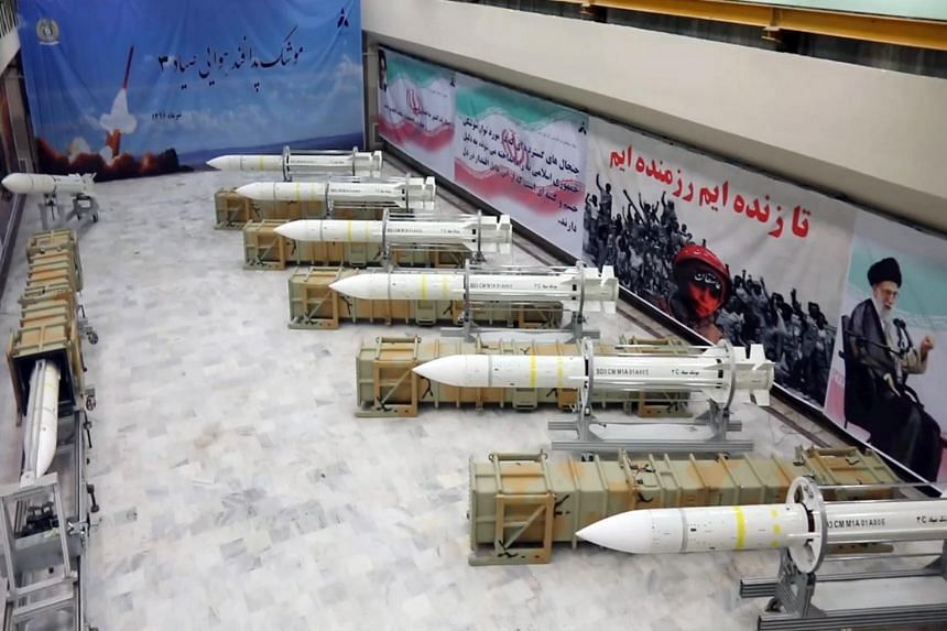 A handout picture released by Iran's Defence Ministry on July 22, 2017, shows newly-upgraded Sayyad-3 air defence missiles on display during an inauguration of its production line at an undisclosed location in Iran.