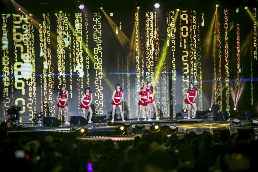 K-pop band GFriend performing at the the annual DMZ Peace Concert at Nuri Peace Park in Munsan, South Korea, on Aug 12, 2017.