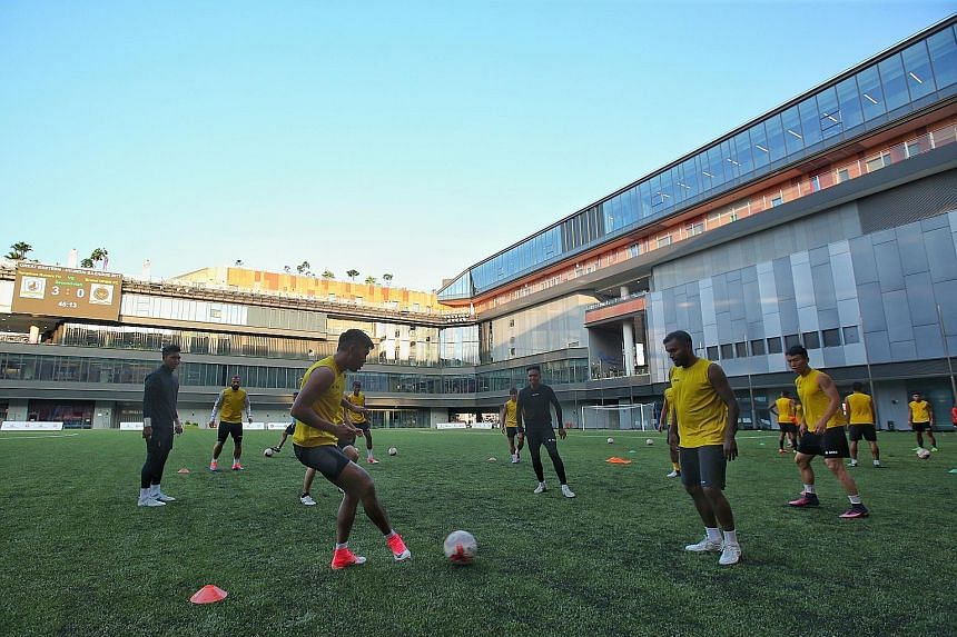 Tampines Rovers players training at Our Tampines Hub last month. The writer says the hub offers more than just football, and football fans may be more willing to visit, given the added attractions.
