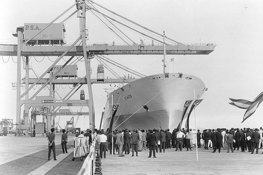 The MV Nihon was the first container ship to call at Tanjong Pagar Terminal when it opened on June 23, 1972. It arrived with around 300 containers from Rotterdam, and was greeted by a crowd of more than 1,000 port workers and officials.