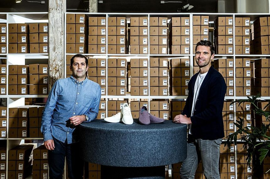 Allbirds co-founders Joey Zwillinger (left), a former clean-tech entrepreneur, and Mr Tim Brown, the former vice-captain of the New Zealand soccer team, met through their wives.