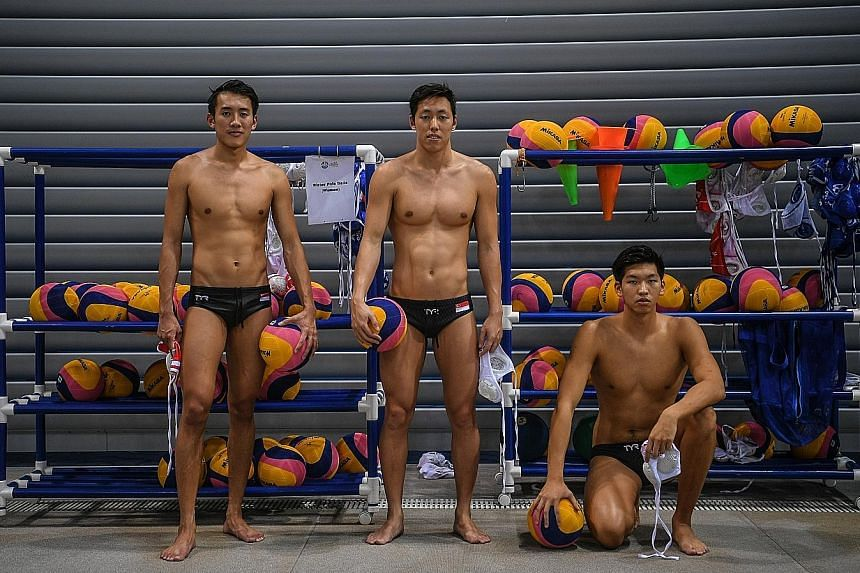 From left: Goalkeeper Lee Kai Yang, left-driver Koh Jian Ying and centre-forward Yu Junjie know there is an expectation for them to extend Singapore's winning streak at the SEA Games men's water polo competition.