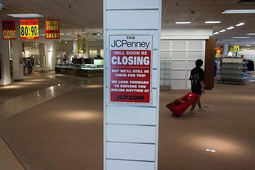 The closing- down sale of the JCPenney store at Columbia Mall in Bloomsburg, Pennsylvania, last month. Prime mall real estate is increasingly going to players which began online and are graduating to bricks and mortar.